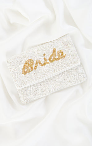 Bride Beaded Clutch Bag ~ White/Gold