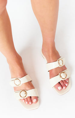 Billini Alaia Buckle Sandals ~ White Clay