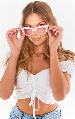 Kaylee Cat Eye Sunglasses ~ White/Pink