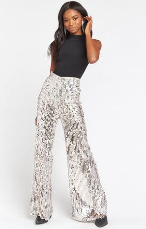 Gretta Pants ~ Platinum Party Sequins