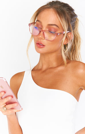 Quay Pink Hardwire Mini Blue Light Glasses ~ Pink