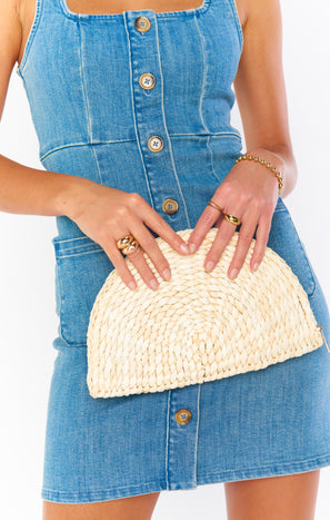 Evanne Straw Clutch Bag ~ Natural