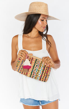 Como Tassel Clutch Bag ~ Natural/Multi