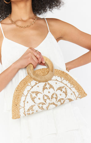 Nicola Straw Bag ~ Natural/White