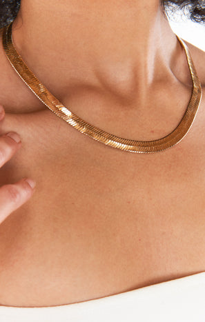 Thick Snake Chain Necklace ~ Gold