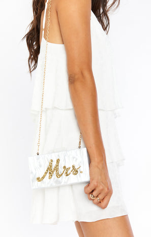 MRS Box Clutch Bag ~ White/Gold