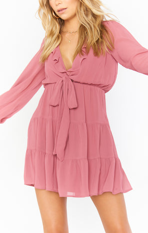 Addy Tie Dress ~ Sunset Rose