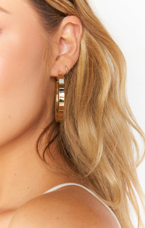 Celia Flat Hoop Earrings ~ Gold