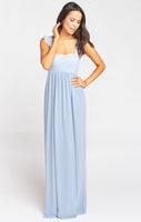 Chiffon Empire Waistline Smocked Full-Skirt Bridesmaid Dress/Maxi Dress With Ruffles