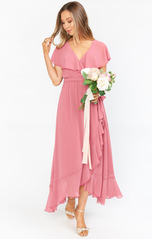 Jess Ruffle Midi Dress ~ Sunset Rose Chiffon