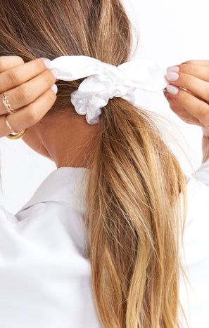 Lexie Tie Scrunchie ~ White Satin