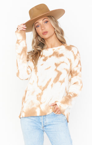 Sunday Sweater ~ Camel Tie Dye