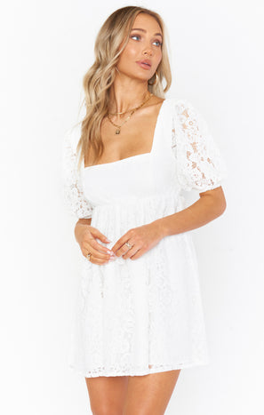 Smitten Babydoll Dress ~ Duchess Lace White