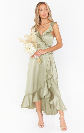 Samantha Ruffle Wrap Dress ~ Moss Green Luxe Satin