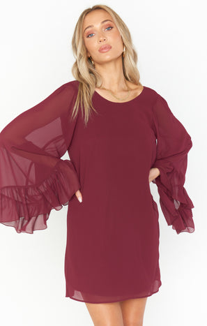 Matilda Mini Dress ~ Cabernet Chiffon