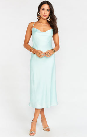 Verona Cowl Dress ~ Mint Luxe Satin