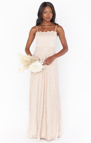 Lauren Tie Maxi Dress ~ Champagne Forever Lace