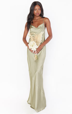 Tuscany Maxi Slip Dress ~ Moss Green Luxe Satin