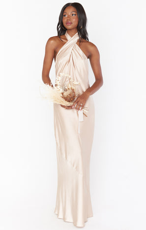 Jasmine Halter Maxi Dress ~ Champagne Luxe Satin