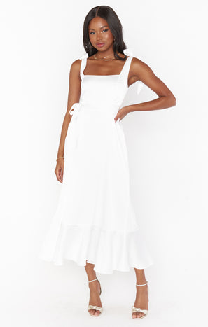Garden Midi Dress ~ Ivory Luxe Satin