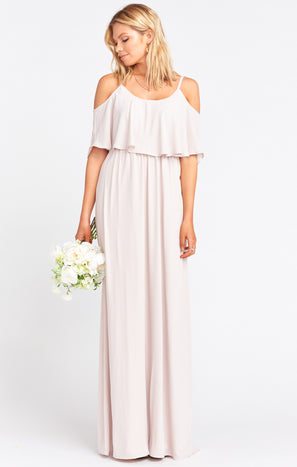 Caitlin Ruffle Maxi Dress ~ Show Me the Ring Crisp