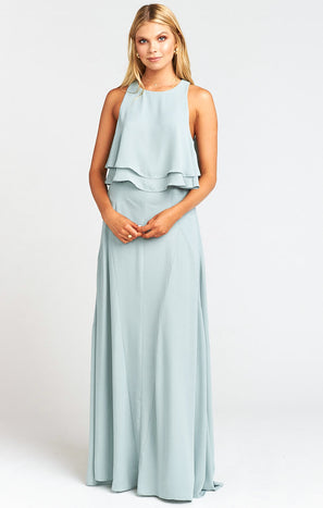 Princess Di Stretch Maxi Skirt ~ Silver Sage Crisp