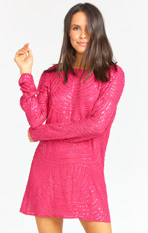 Iggy Dress ~ Beaded Sequins Fuchsia