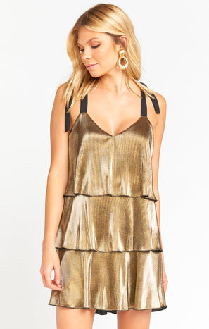 Suarez Tie Dress ~ Pleated Gold