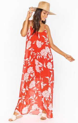 Trapeze Maxi Dress ~ Hot Red Floral