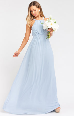 Amanda Maxi Dress ~ Steel Blue Chiffon