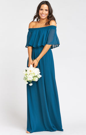 Hacienda Maxi Dress ~ Deep Jade Chiffon