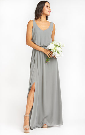 Kendall Maxi Dress ~ Soft Charcoal Crisp