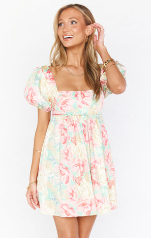Smitten Babydoll Dress ~ Pastel Flowers