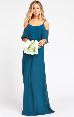 Caitlin Ruffle Maxi Dress ~ Deep Jade Chiffon