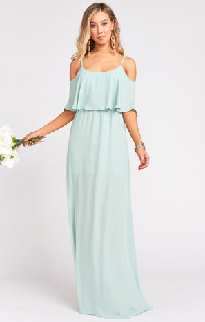 Caitlin Ruffle Maxi Dress ~ Dusty Mint Crisp