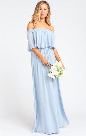 Hacienda Maxi Dress ~ Steel Blue Chiffon
