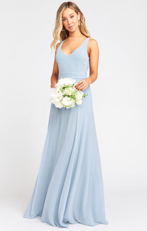 Jenn Maxi Dress ~ Steel Blue Chiffon