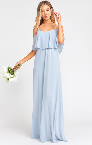 Caitlin Ruffle Maxi Dress ~ Steel Blue Chiffon