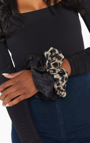 Oversized Scrunchie Set ~ Leopard/Black
