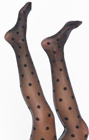 Glitter Spot Tights ~ Black