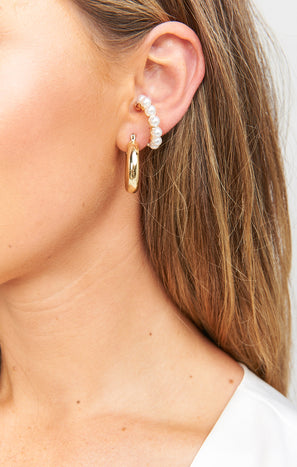 Fairmont Ear Cuff ~ Gold/Pearl