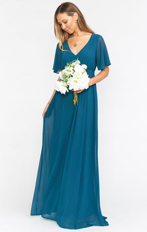 Emily Empire Maxi Dress ~ Deep Jade Chiffon