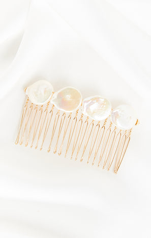 Rory Ashton Baroque Pearl Hair Comb ~ Gold/Pearl