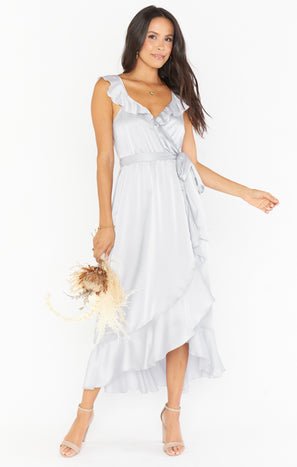 Samantha Ruffle Wrap Dress ~ Silver Luxe Satin