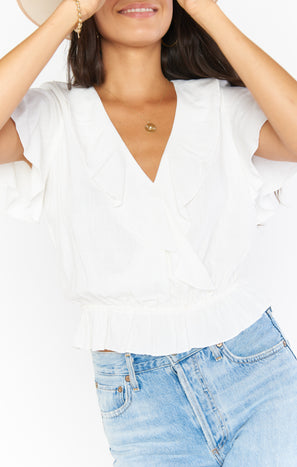Audrina Top ~ White Linen