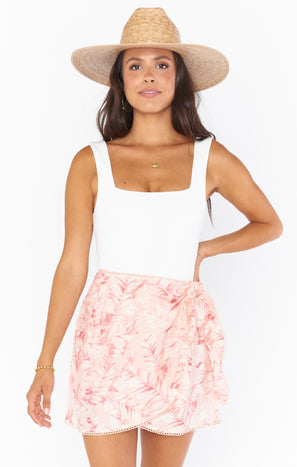 Iva Wrap Skirt ~ Pink Majestic Palm
