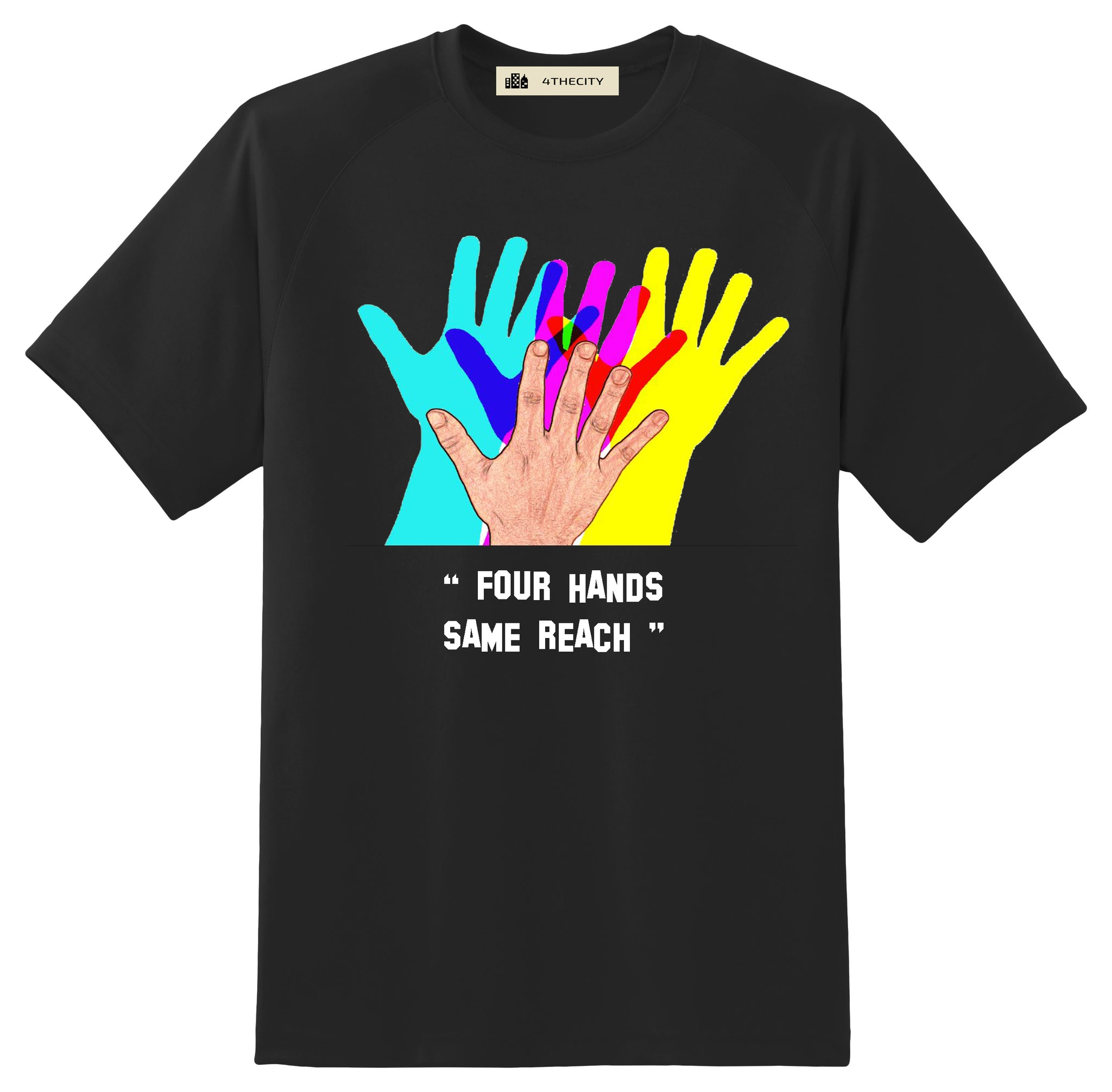 "4TC Black T-Shirt ""Four hands. Same reach"""