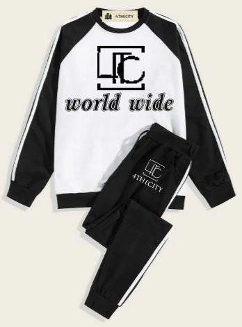 4TC Black and white longsleeve shirt w/ joggers
