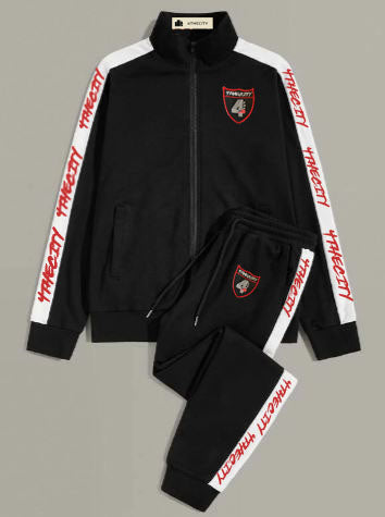 4TC Black, Red, and White track suit