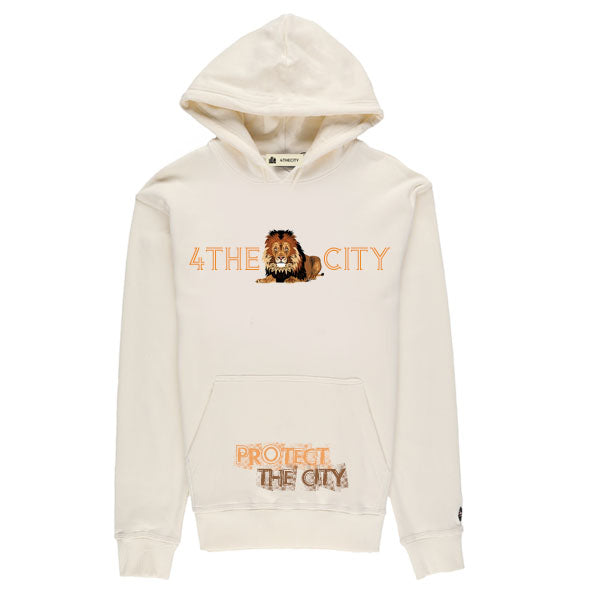 4TC PROTECT THE CITY Cream hoodie